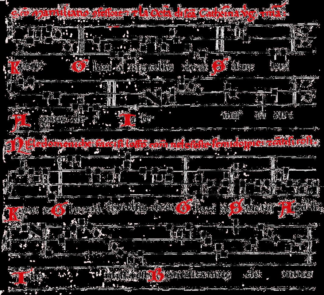 Notación gregoriana antigua en rojo y negro